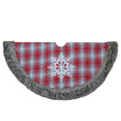 """48"""" Red and White Plaid Christmas Tree Skirt with Snowflake - IMAGE 1"""