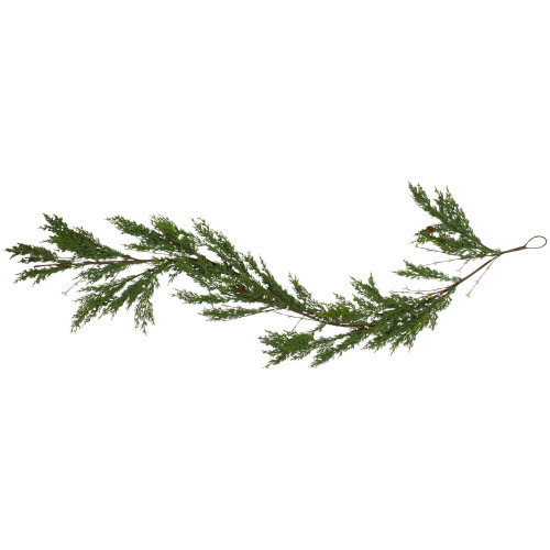6' Green Cypress with Black Grape Berries Artificial Christmas Garland - Unlit - IMAGE 1