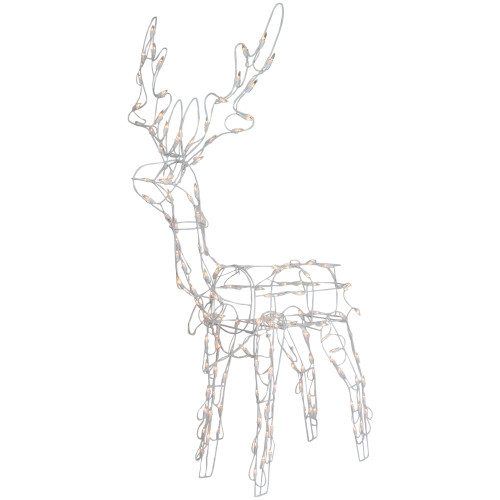 """48"""" Lighted White Standing Reindeer Outdoor Christmas Decoration - IMAGE 1"""