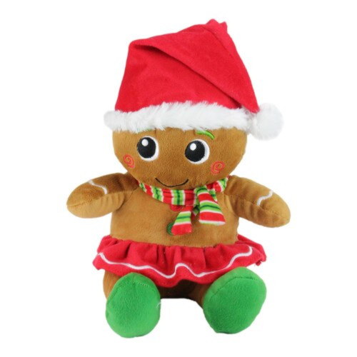 11in Brown and Red Plush Sitting Gingerbread Girl Christmas Figure - IMAGE 1