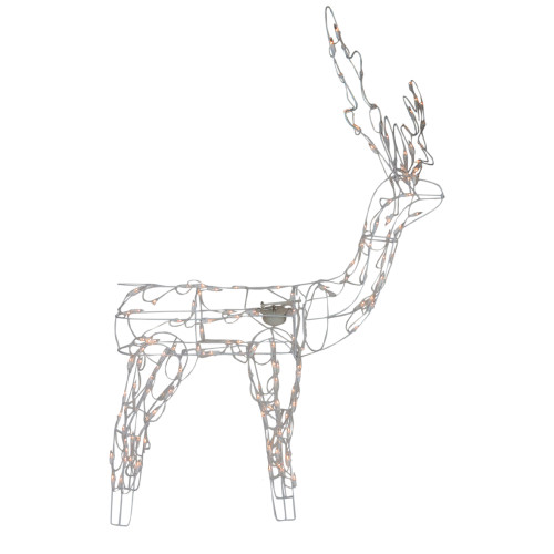 48-Inch Lighted White Standing Reindeer Animated Outdoor Christmas Decoration - IMAGE 1