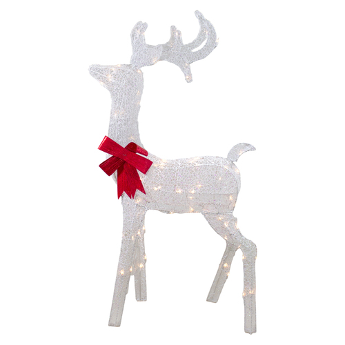 "52"" Lighted White Mesh Standing Buck Outdoor Christmas Decoration - Clear Lights - IMAGE 1"