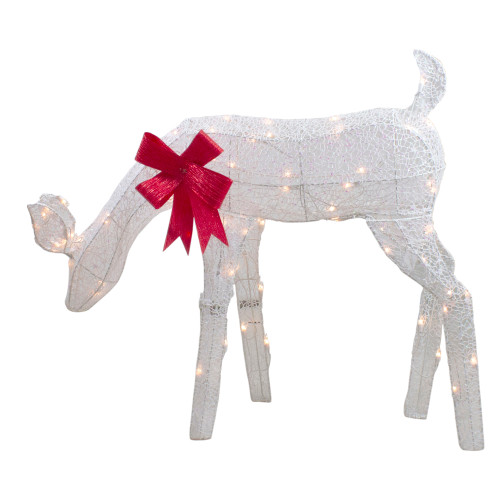 """37"""" Lighted White Mesh Feeding Doe Outdoor Christmas Decoration - Clear Lights - IMAGE 1"""