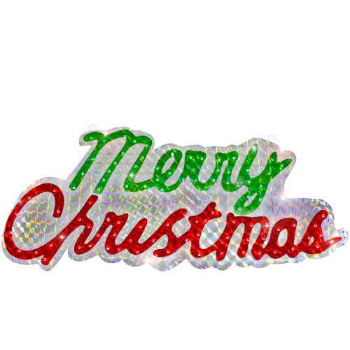 45.5-Inch Lighted Holographic Merry Christmas Sign Outdoor Decoration - IMAGE 1