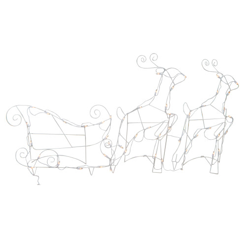 3-Piece Lighted Reindeer and Sleigh Outdoor Christmas Decoration Set - IMAGE 1