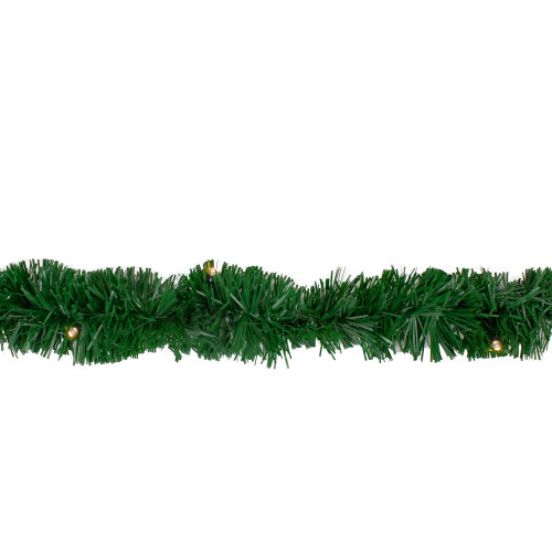 18' Pre-Lit LED Green Pine Artificial Christmas Garland - Warm White Lights - IMAGE 1