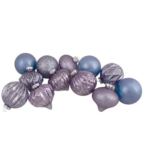 Set of 12 Purple Tone Finial and Glass Ball Christmas Ornaments - IMAGE 1