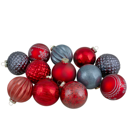 Set of 12 Red and Blue Finial and Glass Ball Christmas Ornaments - IMAGE 1