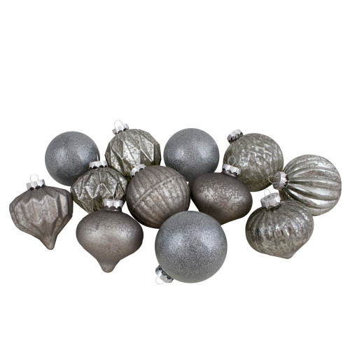 Set of 12 Neutral Tone Finial and Glass Ball Christmas Ornaments - IMAGE 1