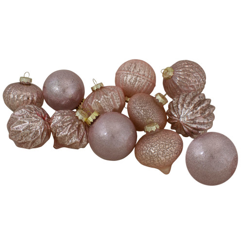 Set of 12 Blush Pink Finial and Glass Ball Christmas Ornaments - IMAGE 1