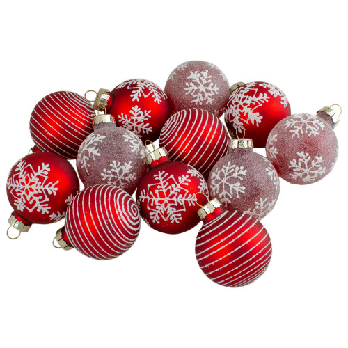 Set of 12 Red Glass Christmas Ornaments 1.75-Inch (45mm) - IMAGE 1