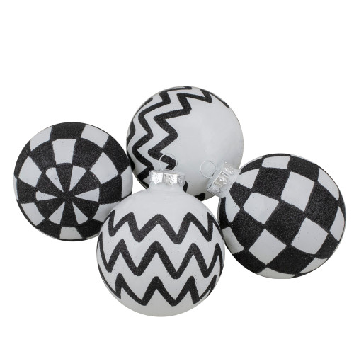Set of 4 Black and White Glass Ball Christmas Decoration 2.75-Inch (67mm) - IMAGE 1