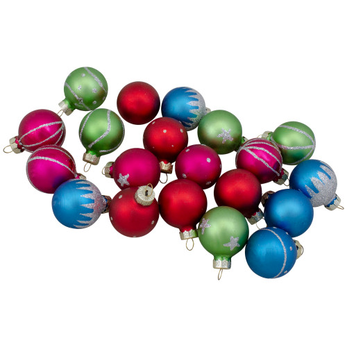 """Set of 20 Glass Christmas Decorations and Tree Topper 1.25"""" (35mm) - IMAGE 1"""