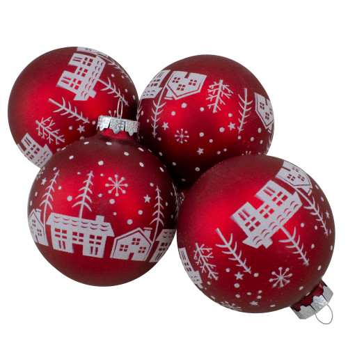 Set of 4 Red Matte Glass Ball Hanging Christmas Decorations 3.2 Inch (80mm) - IMAGE 1