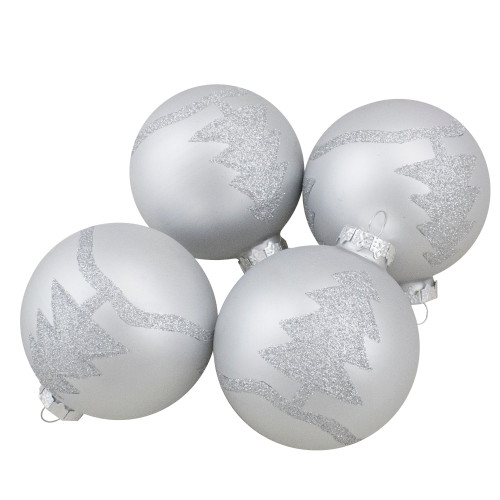 """Set of 4 Silver Glass Ball Christmas Ornaments 3.25"""" (80mm) - IMAGE 1"""