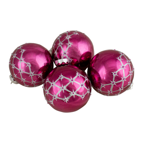 Set of 4 Pink Glass Ball Christmas Ornaments 3.25-Inch (80mm) - IMAGE 1