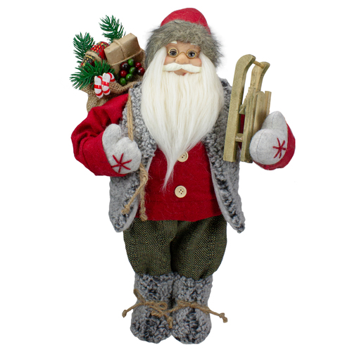 """18"""" Standing Santa Christmas Figure Carrying Presents and a Sled - IMAGE 1"""