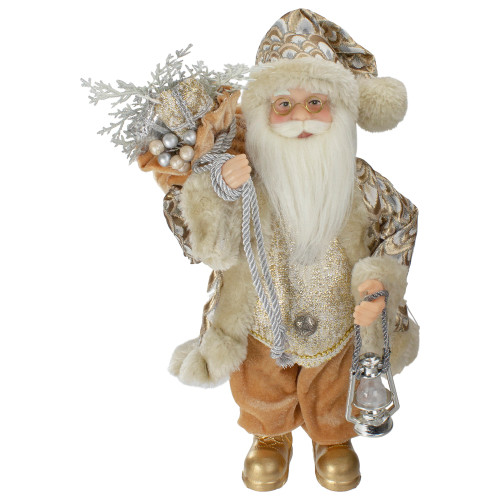"12"" Standing Santa Christmas Figure Carrying a Silver Lantern - IMAGE 1"