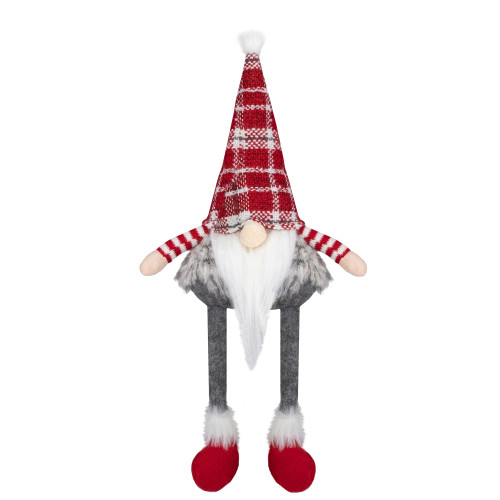 22-Inch Red, Gray, and White Plaid Sitting Tabletop Gnome Christmas Decoration - IMAGE 1