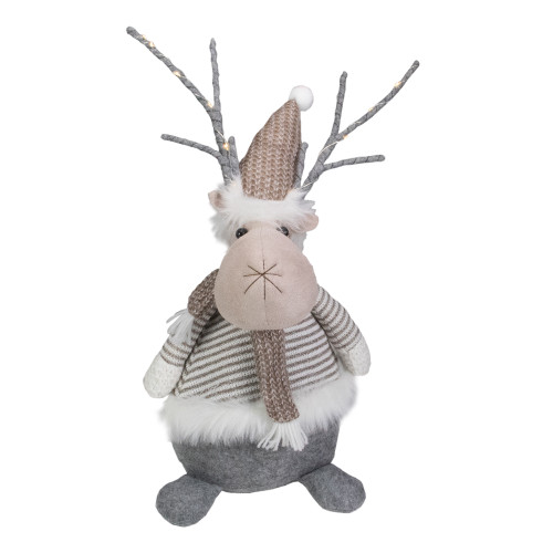 """18"""" LED Lighted Brown and Gray Knit Reindeer Christmas Figure - IMAGE 1"""