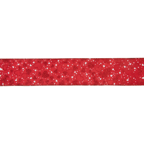 """Red and White Hearts Valentine's Day Wired Craft Ribbon 2.5"""" x 10 Yards - IMAGE 1"""