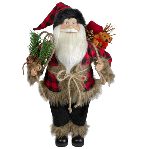 """18"""" Standing Santa Christmas Figure with Snow Shoes and Bear - IMAGE 1"""