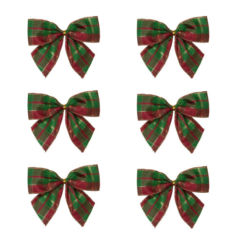 """Pack of 6 Red and Green Plaid 2 Loop Christmas Bow Decorations 5.5"""" - IMAGE 1"""