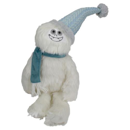 22-Inch Plush White and Blue Sitting Tabletop Yeti Christmas Figure - IMAGE 1