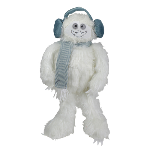 18-Inch Plush White and Blue Sitting Tabletop Yeti Christmas Figure - IMAGE 1