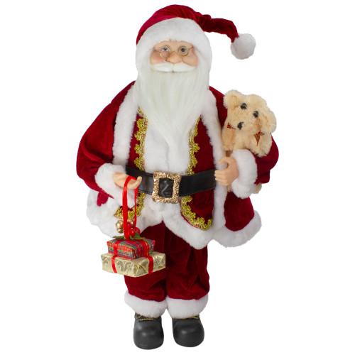 """18"""" Standing Santa Christmas Figure with a Plush Brown Bear - IMAGE 1"""