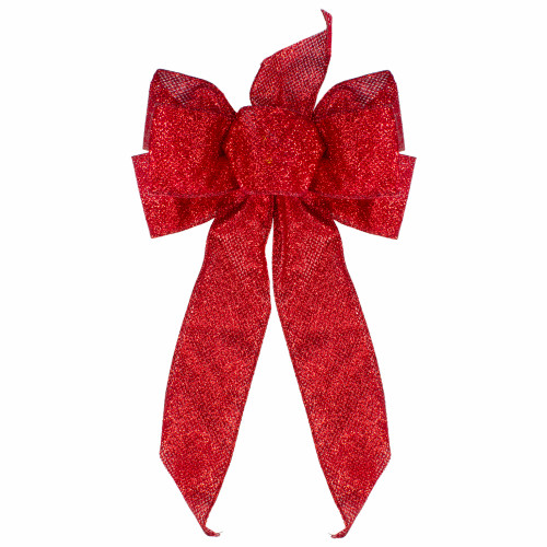 """14"""" x 9"""" Red Glittered 6 Loop Christmas Bow Decoration - IMAGE 1"""