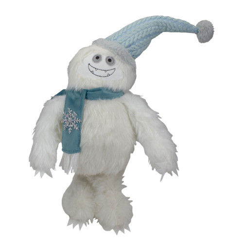 23-Inch Plush White and Blue Standing Tabletop Yeti Christmas Figure - IMAGE 1