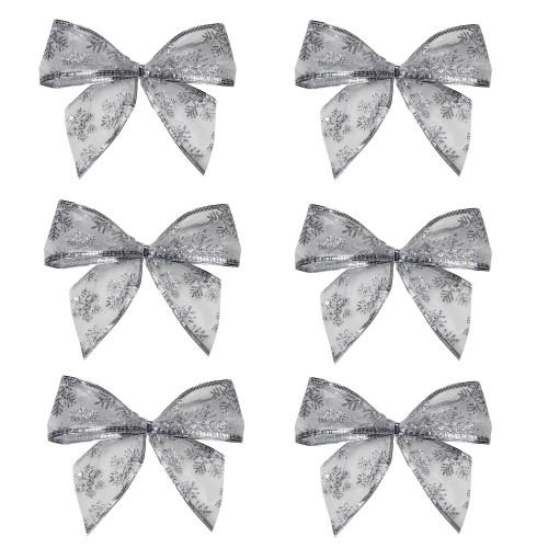 "Pack of 6 Sheer Silver Snowflake 2 Loop Christmas Bow Decorations 5.5"" - IMAGE 1"