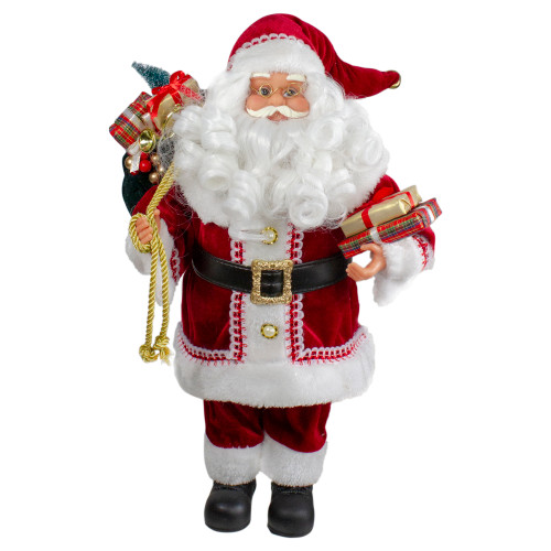 18-Inch Standing Curly Beard Santa Christmas Figure with Presents - IMAGE 1