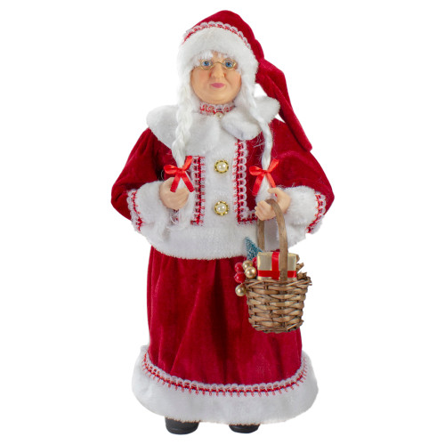 """18"""" Standing Mrs. Claus Christmas Figure with a Basket of Goodies - IMAGE 1"""