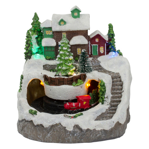 """7"""" Lighted Village with Rotating Train Christmas Decoration - IMAGE 1"""