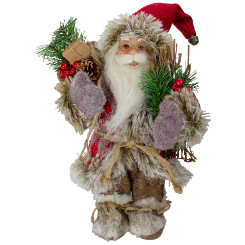 12-Inch Standing Outdoor Santa Christmas Figure with Fur Boots and Presents - IMAGE 1