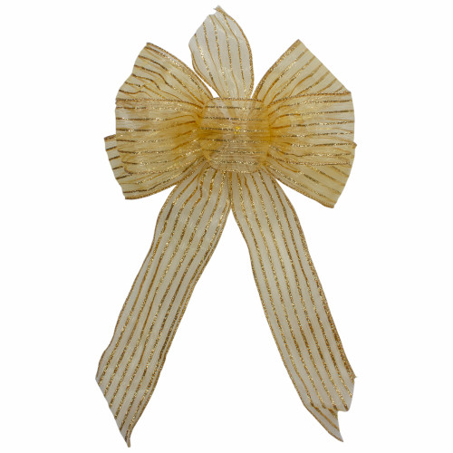 """14"""" x 9"""" Gold Glitter Striped 6 Loop Christmas Bow Decoration - IMAGE 1"""