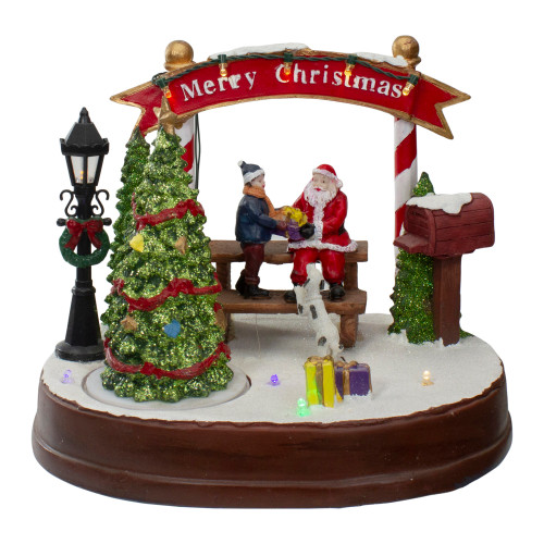 """8"""" Lighted Winter Christmas Scene with Music and a Turning Tree - IMAGE 1"""
