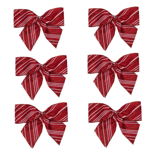 """Pack of 6 Red and White Striped 2 Loop Christmas Bow Decorations 5.5"""" - IMAGE 1"""