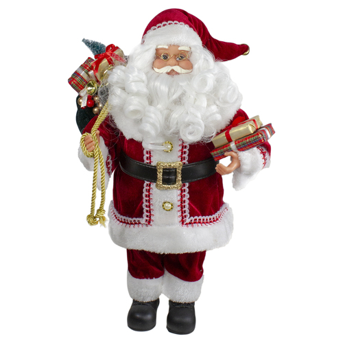 """12"""" Standing Curly Beard Santa Christmas Figure with Presents - IMAGE 1"""