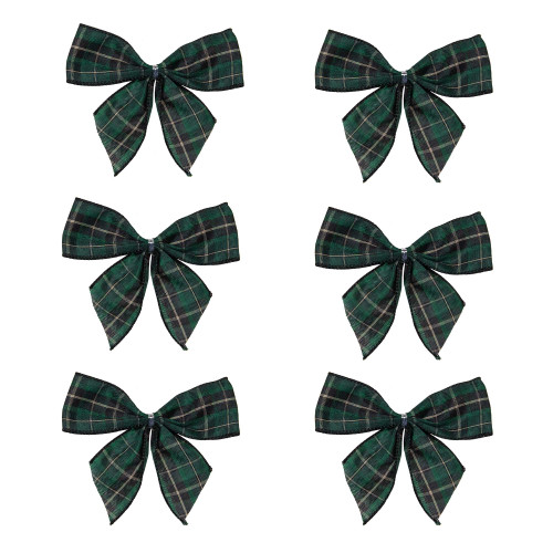 """Pack of 6 Green and Black 2 Loop Christmas Bow Decorations 5.5"""" - IMAGE 1"""
