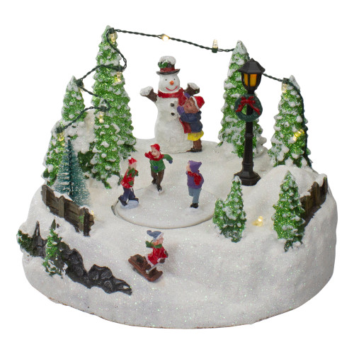 """9"""" Lighted Christmas Scene with Moving Skaters and a Snowman - IMAGE 1"""
