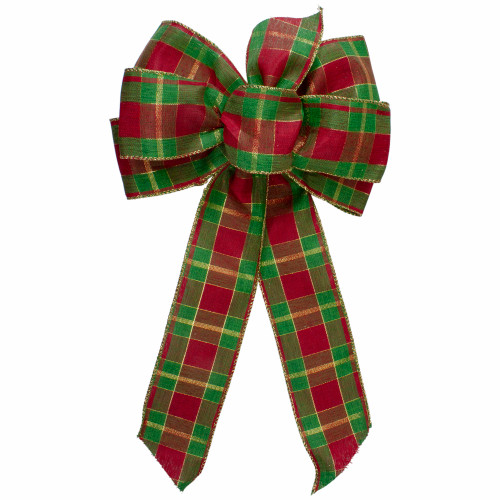 """14"""" x 9"""" Red and Green Plaid 6 Loop Christmas Bow Decoration - IMAGE 1"""