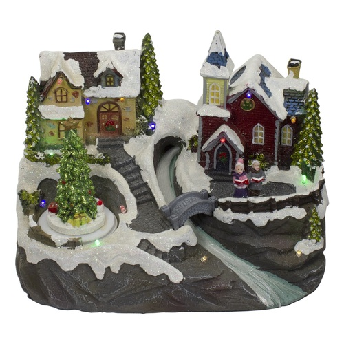 """9"""" Lighted and Animated Christmas Village Scene with a Moving Christmas Tree - IMAGE 1"""