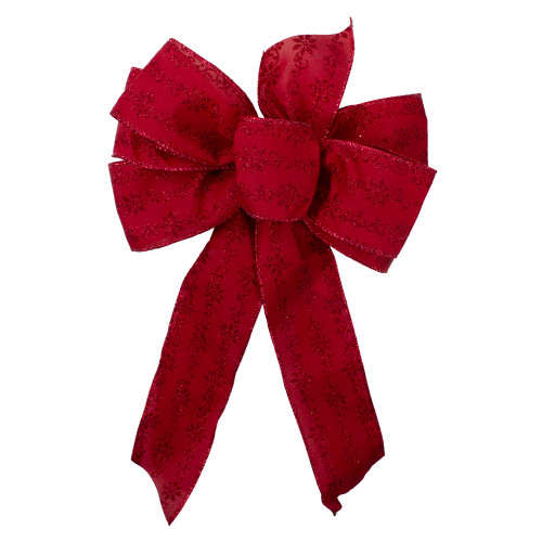 """14"""" x 9"""" Red Glittered Poinsettia 6 Loop Christmas Bow Decoration - IMAGE 1"""