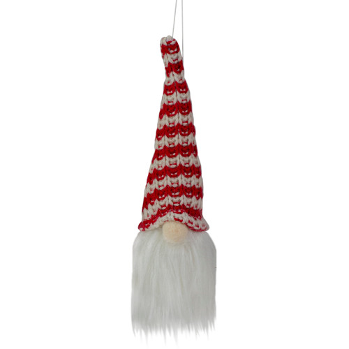 "8"" Lighted Red and White Knit Gnome Head Christmas Ornament - IMAGE 1"