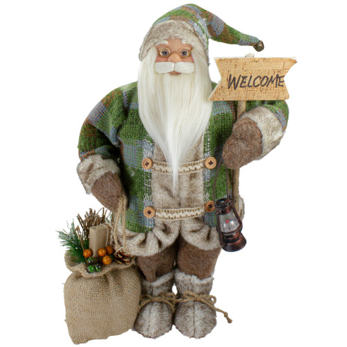 """18"""" Standing Santa Christmas Figure Carrying a Welcome Sign - IMAGE 1"""