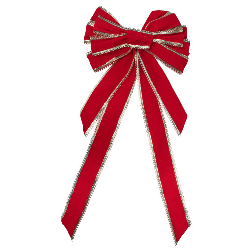 """12"""" x 25"""" Red and Gold 10 Loop Velvet Christmas Bow Decoration - IMAGE 1"""