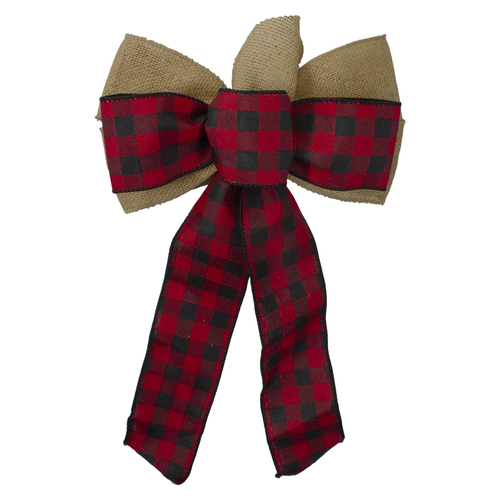 "14"" x 9"" Burlap and Buffalo Plaid 6 Loop Christmas Bow Decoration - IMAGE 1"